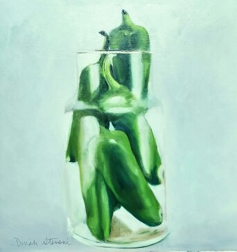 """Jalapenos in Canister, 12"""" x 12"""", oil on birch panel"""
