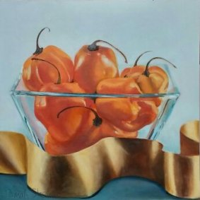 "Habaneros with Ribbon, 12""x12"", oil on birch panel"