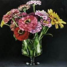 "Zinnias, 12""x12"", oil on archival birch panel"