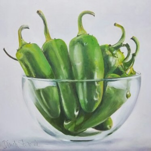 "Jalapenos, 12"" x 12"",oil on birch panel."
