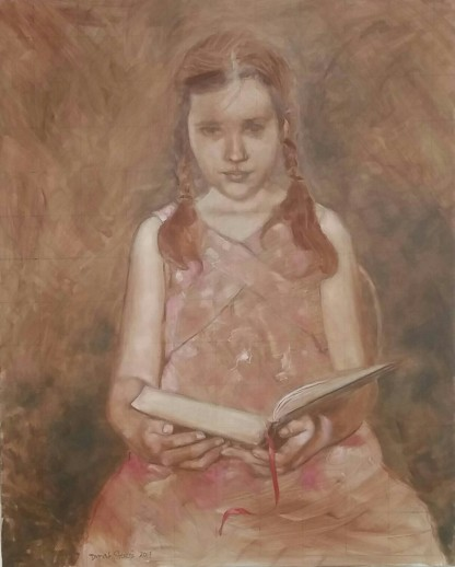 """The Red Bookmark, 24""""x30"""", oil on canvas"""