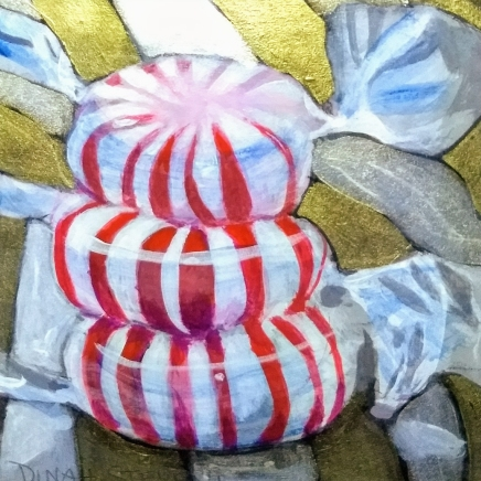 """Stacked Peppermints, 4""""x4"""" acrylics on cradled basswood panel"""