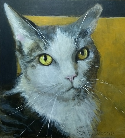 """Riley, 8""""x8"""", acrylics on archival basswood panel gallery ready"""